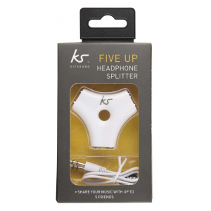 View more KitSound FIVE UP HEADPHONE SPLITTER White details!!
